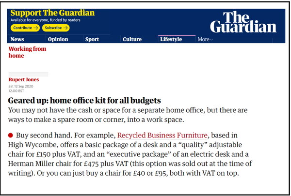 Guardian Newspaper article Sep 20 - Home office kit for all budgets