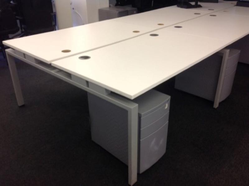 1400w x 800d mm Senator white bench desks in 2, 4 or 6 person. Tops not perfect so price per person: