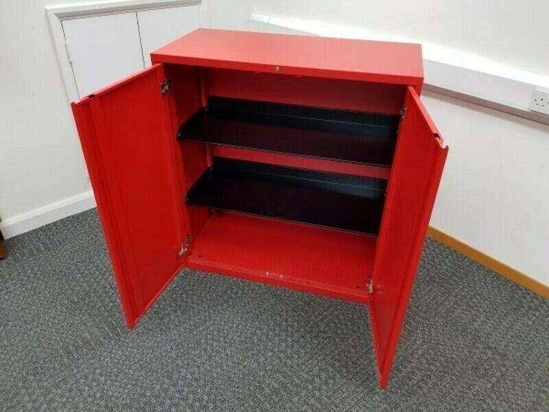 KI red 1180mm high double door cupboard