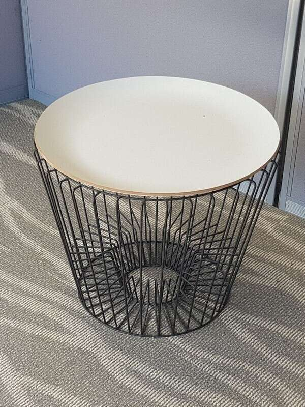 Wire frame white top coffee tables
