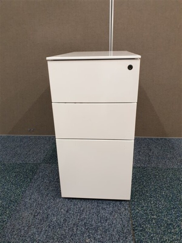 White slimline metal pedestal