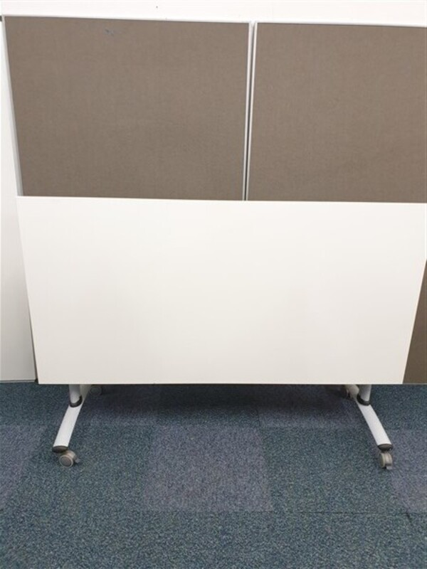 White flip top meeting room table