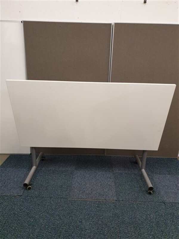 White Flip Top Table Grey Frame