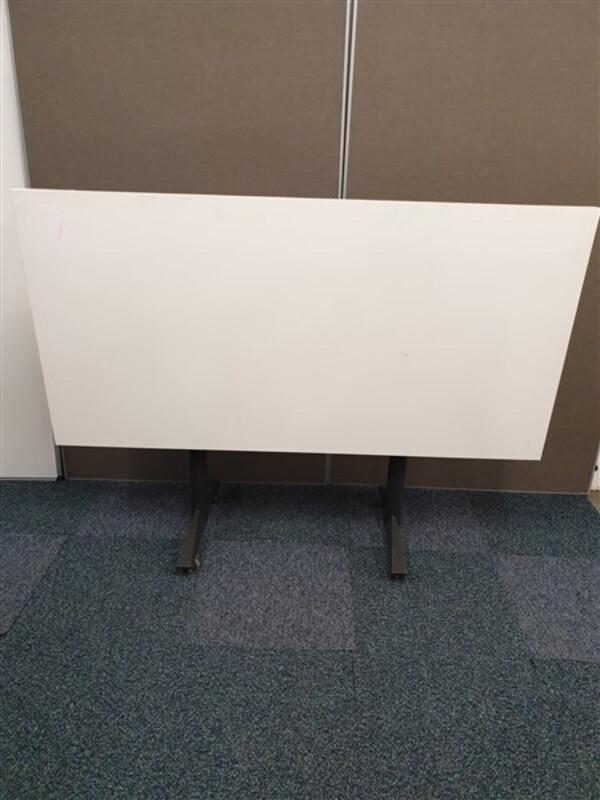 White Top Graphite Frame Flip Top Table