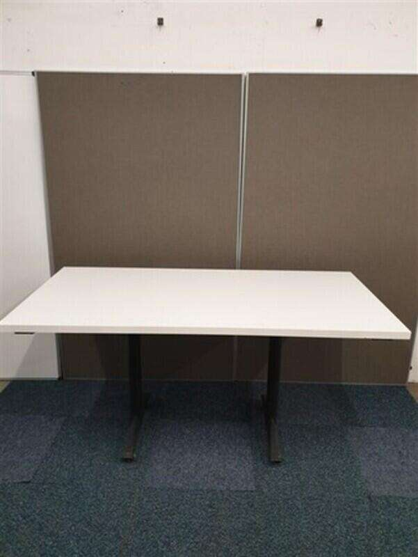 White Top Graphite Frame Flip Top Table