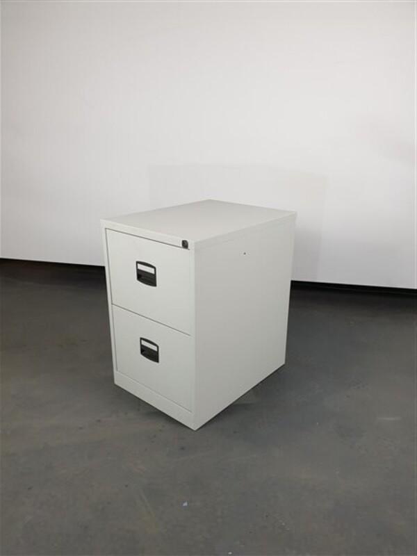 Grey metal filing cabinet