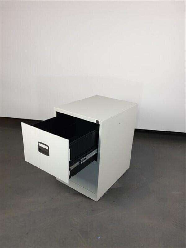 Grey metal filing cabinet