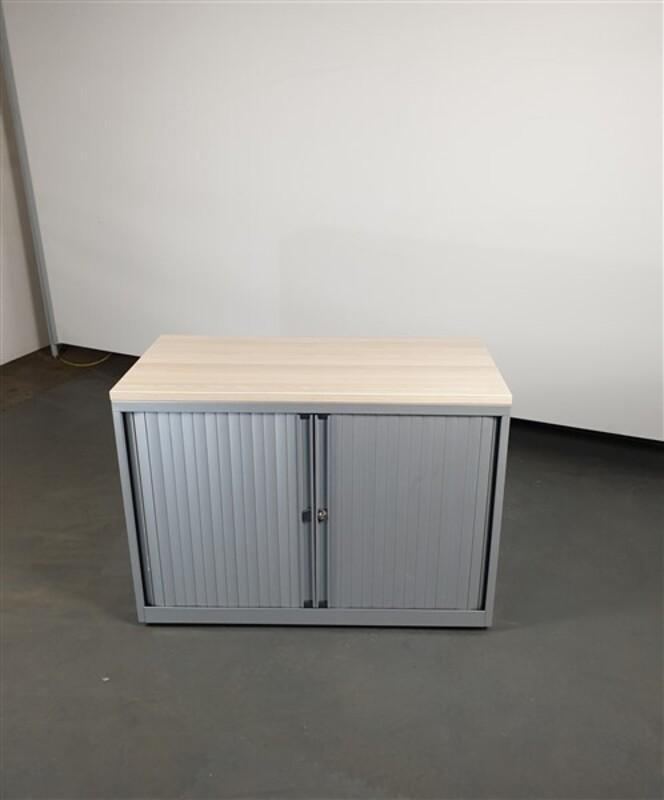 Light Oak Top Grey Metal Tambour desk high