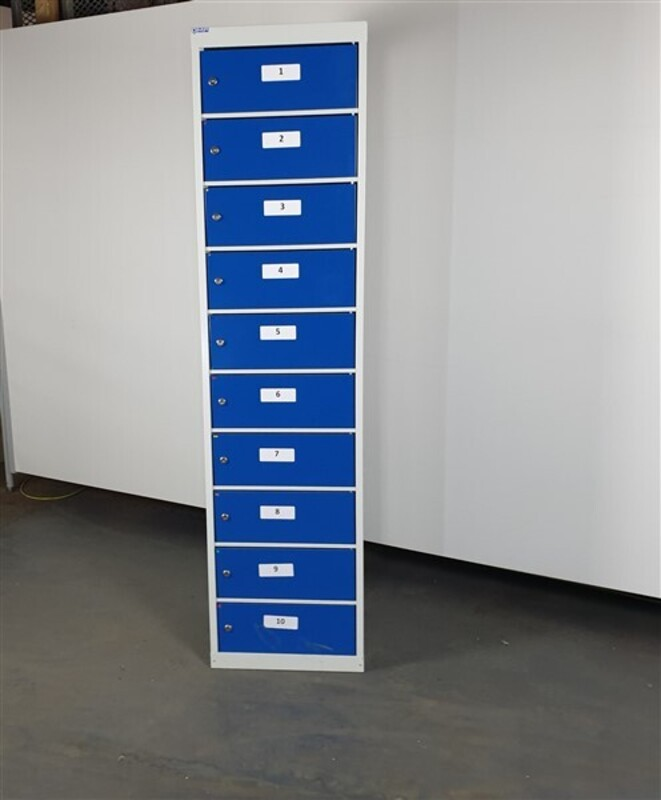 Light Grey Metal Lockers Blue  Fronts