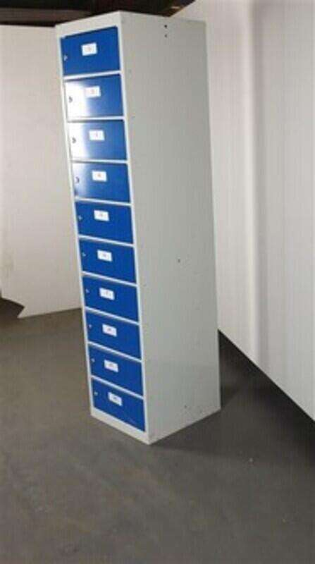 Light Grey Metal Lockers Blue Fronts