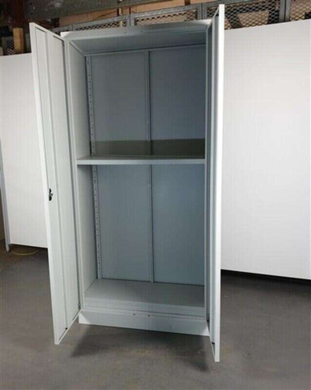 Light Grey Metal Tall Cupboard