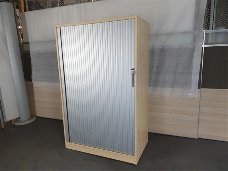Maple Wooden Frame Grey Metal Tambour Door