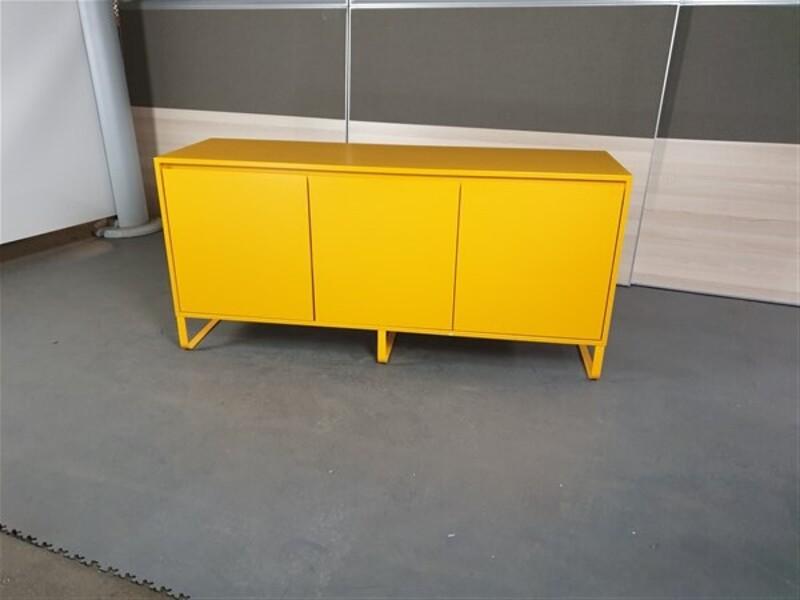 Yellow Credenza Wooden 3 Door