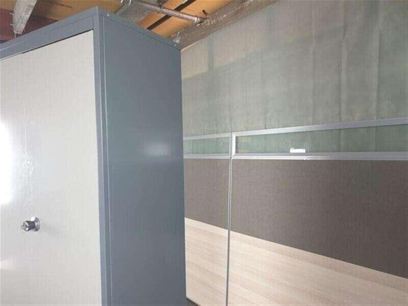 Tall Cupboard Light Grey Doors Dark Grey Surround