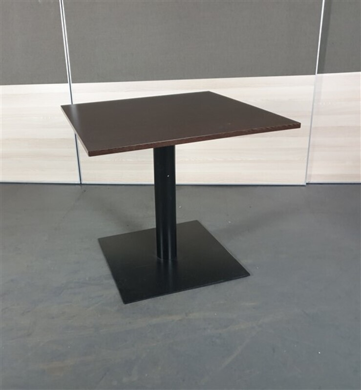 Square Walnut Top Black Metal Base Coffee Table