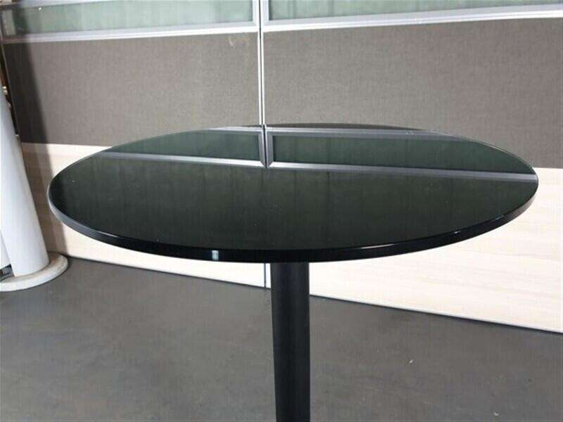 Black Glass Circular Poseur Table