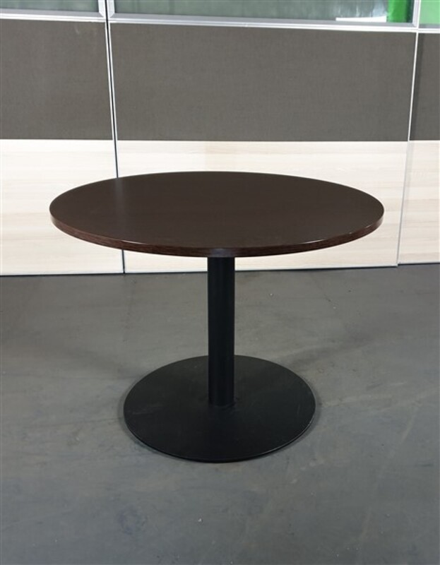 Walnut Circular Table Black Base