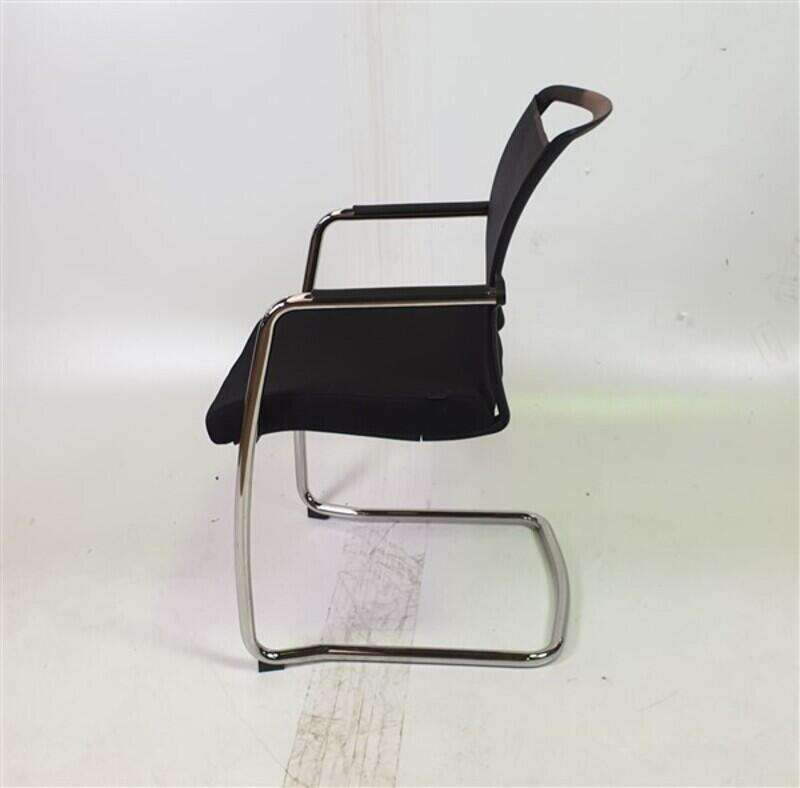 Pledge Black Mesh Back Fabric Seat Stackable Chair
