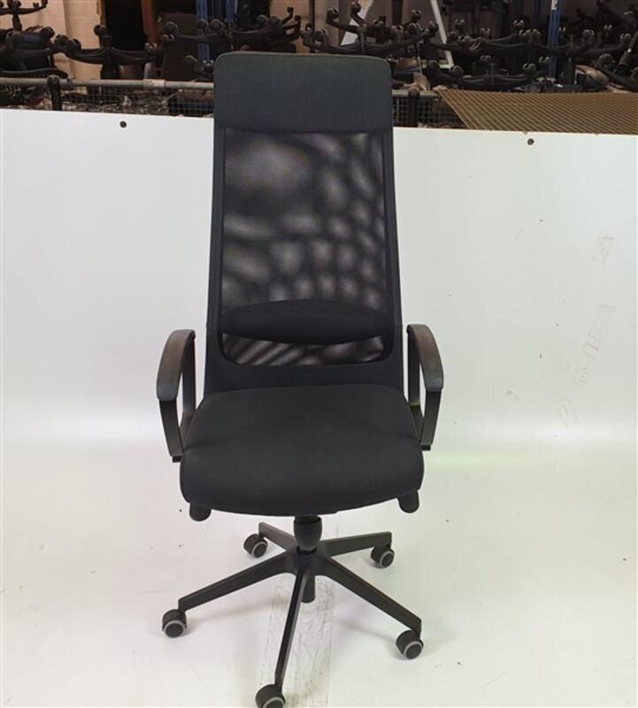 High Black Mesh Back Grey Fabric Seat