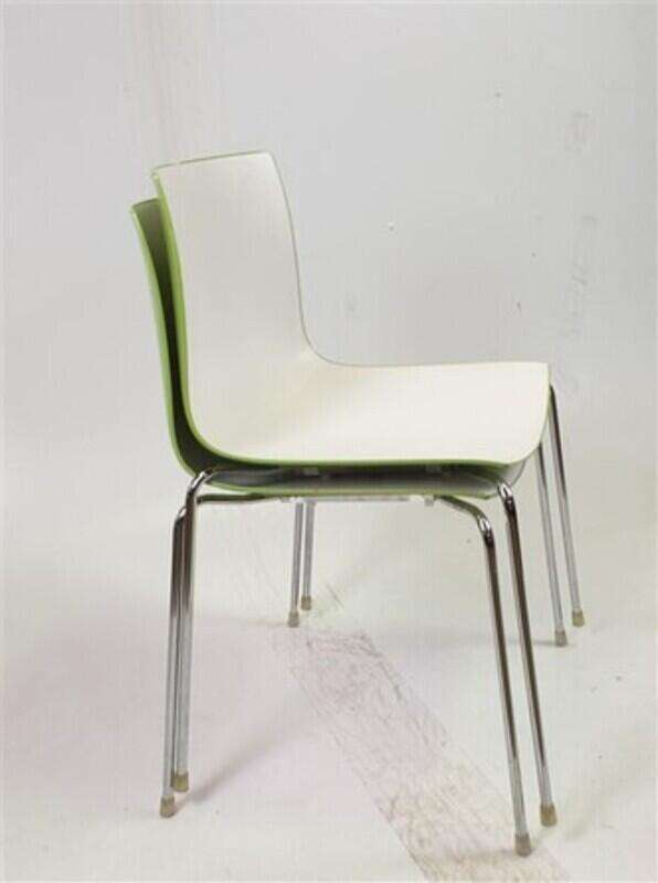 Matte White & Shiny Green Stackable Chair