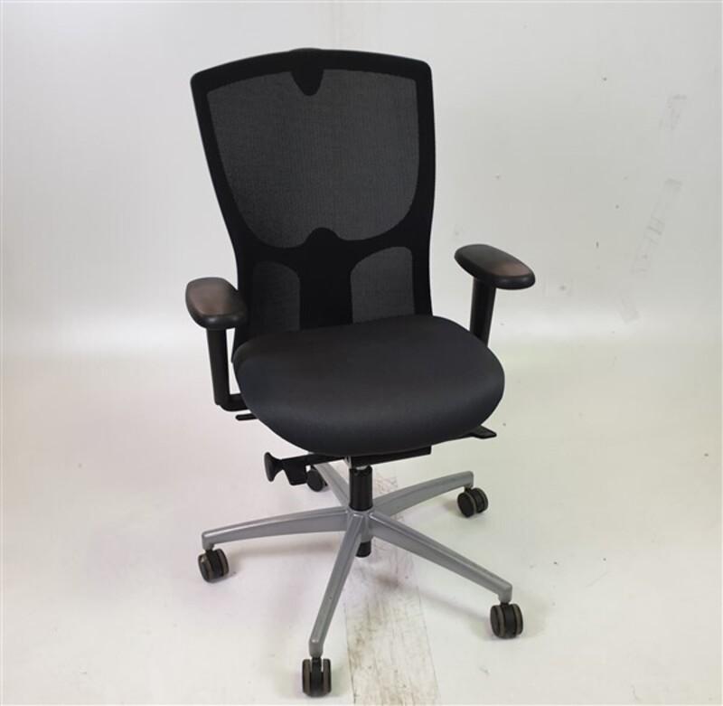 Black Mesh Back Dark Grey Fabric Seat Chair