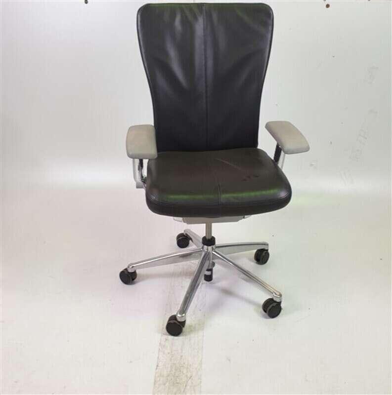 Haworth Dark Grey Leather Seat Light Grey Arm rests