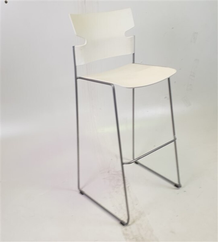 Materia White Stackable Stool Steel Frame