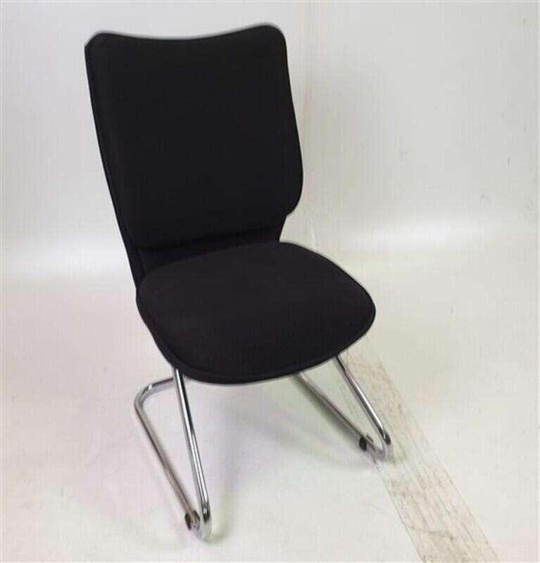 Black Fabric/Mesh Meeting Chair Chrome Legs