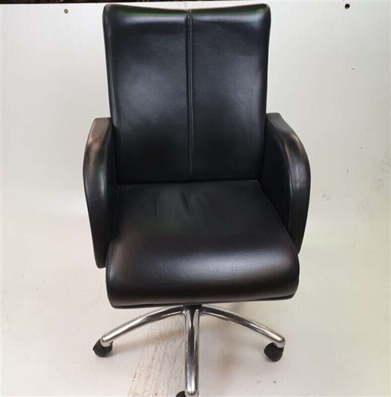 Black Leather Executive Chair Chrome Base