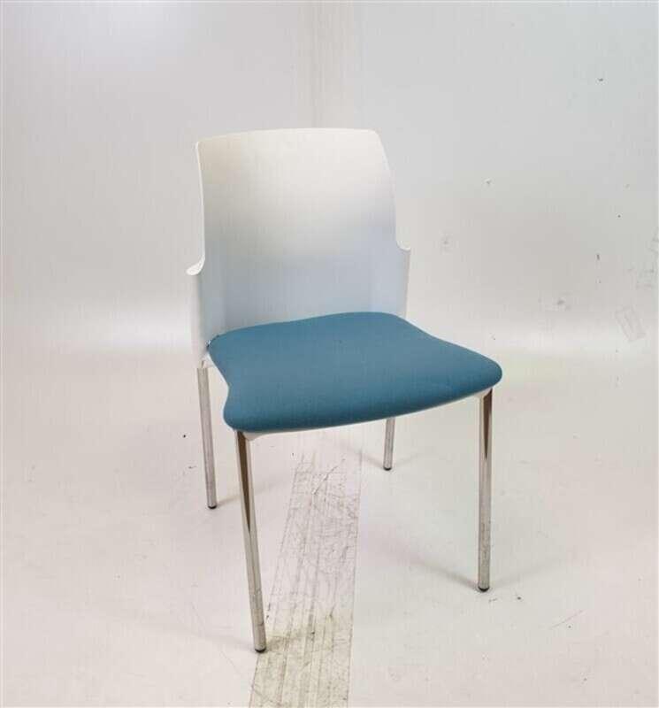Elite White Back Blue Fabric Chair