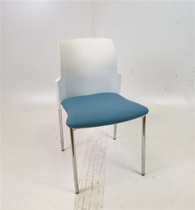 Elite White Back Blue Fabric Chair