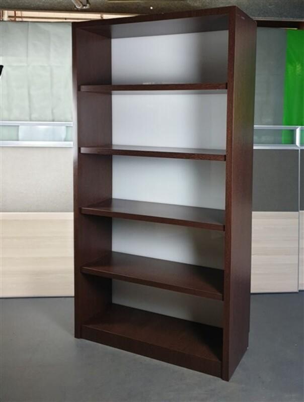 Tall Dark Walnut Wooden Bookshelf Cupboard