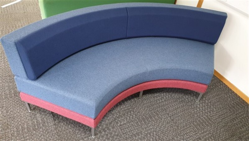 Blue Toned amp Pink Curved Sofa