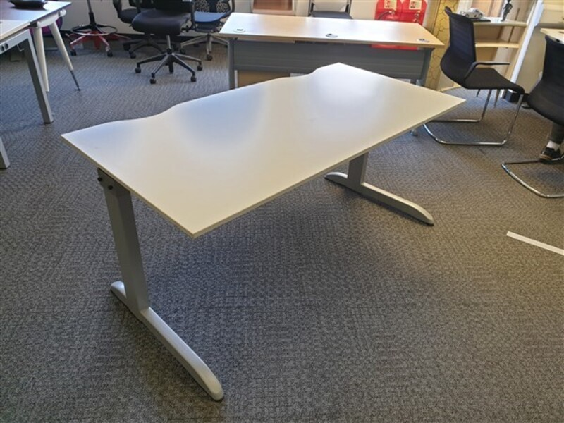 White Techo Desk Grey Legs