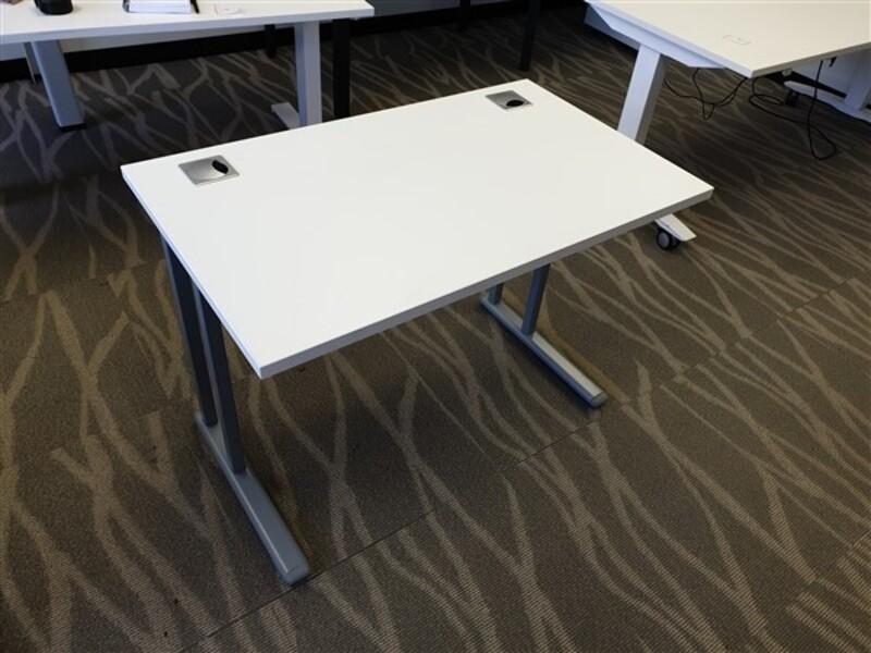 Small White Top Desk Metal Legs