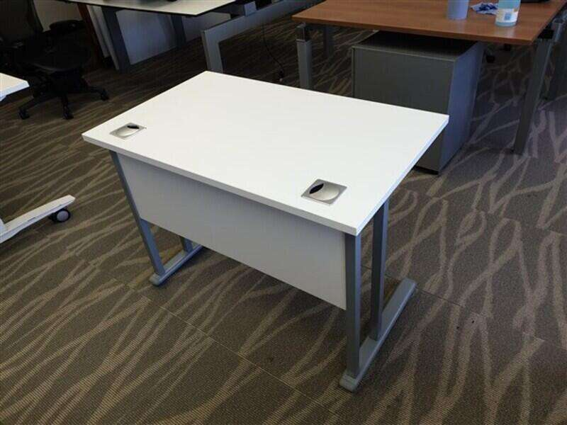 Small White Top Desk Metal Legs
