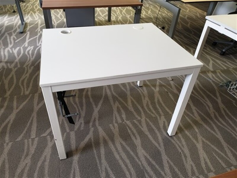 White Top Desk Metal Legs