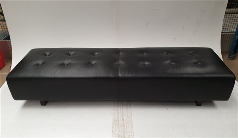 Low black leather bench