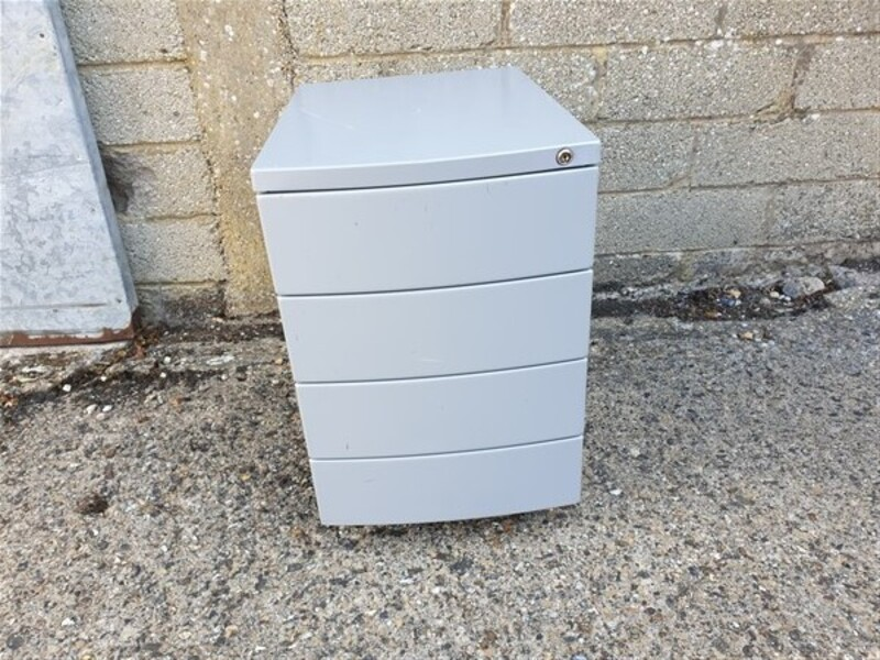 Bow fronted grey metal pedestals