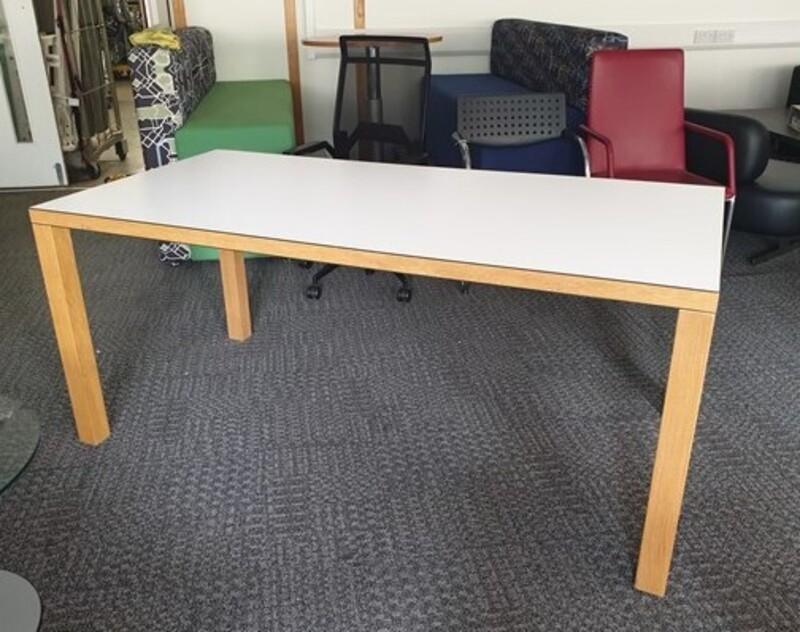 White meeting table  Beech legs