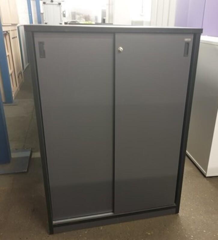 Grey wooden cupboards