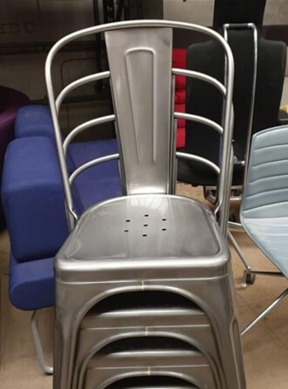 Bare metal Tolix metal café chairs