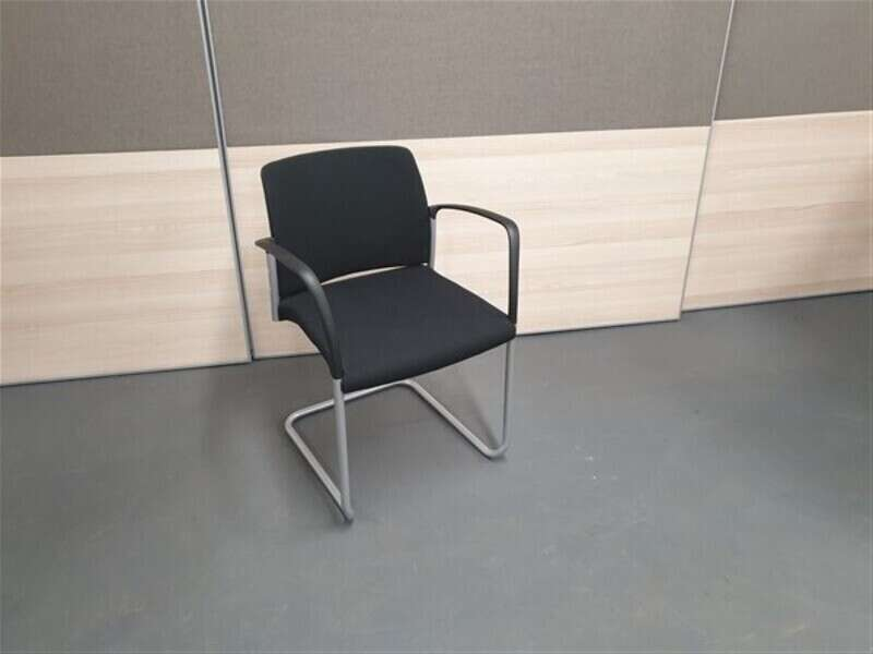 Boss Design Stacking Black Stacking Cantilever Chairs