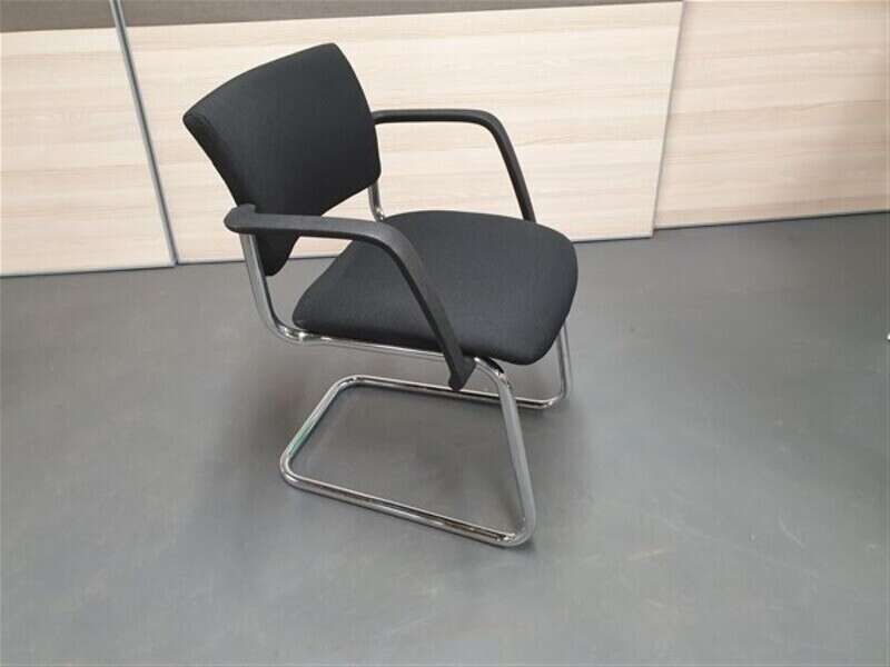 Pledge Black Chrome Cantilever Meeting Chair