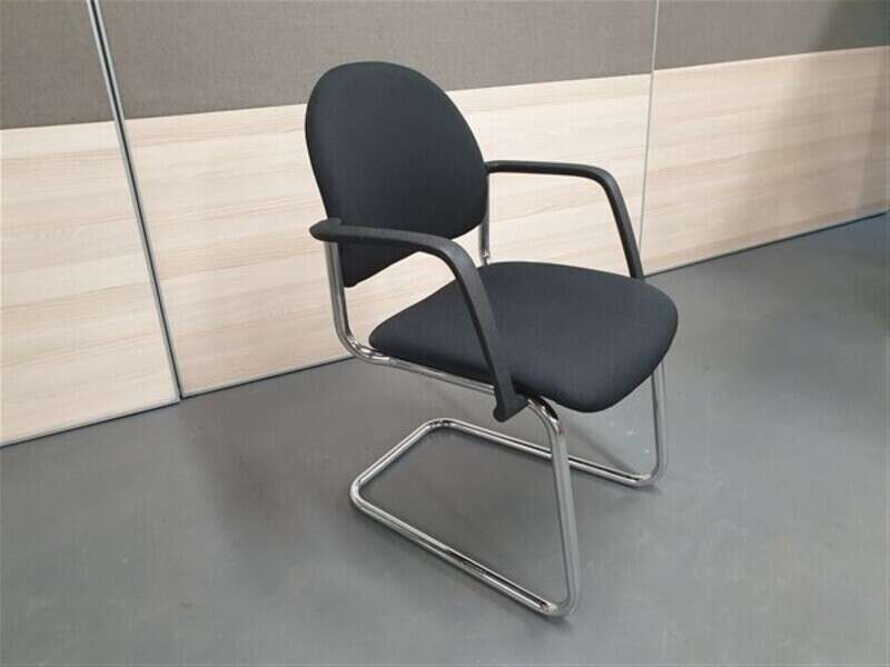 Pledge Round Black Cantilever Meeting Chairs