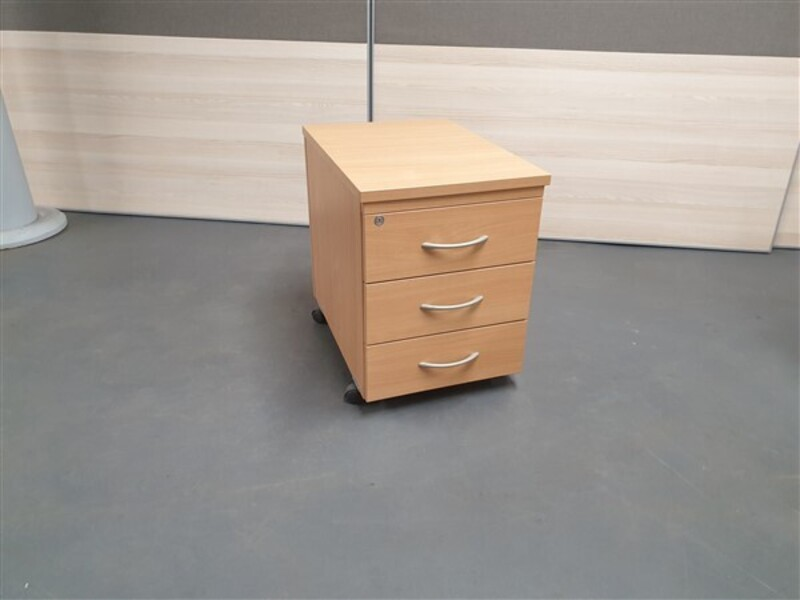 Beech 3 Drawer Mobile Pedestal