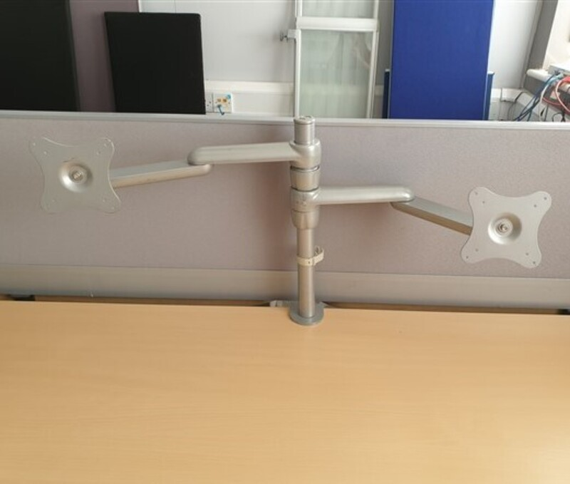 Grey Dual adjustable monitor arms