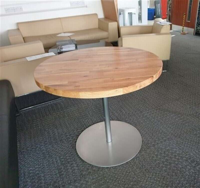 Solid wood circular table brushed chrome base