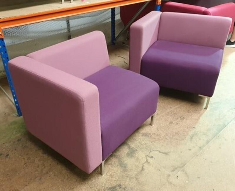 Purple two toned corner sofas