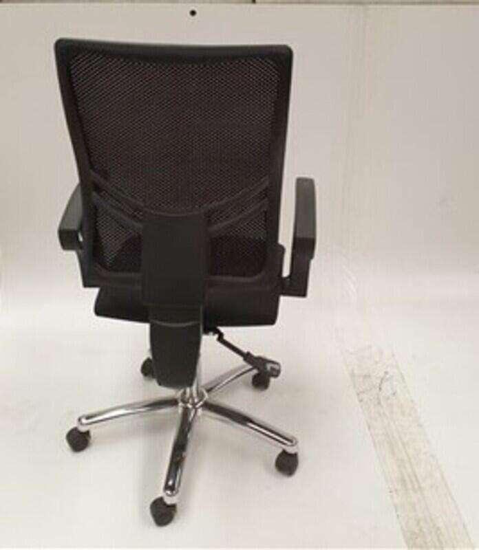 Black mesh back chair chrome base